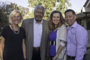 L-R: Fielding Trustee Karen Bogart, Provost Gerald Porter, President Rogers and Trustee Otto Lee