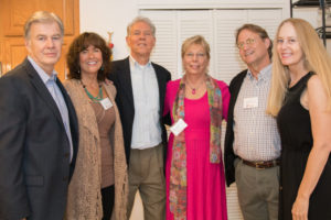 (L-R) Keith Melville, Rebecca McLean and her husband, Faculty Fellow Roger Jahnke, faculty member Valerie Bentz, alumni Dennis German, and former staff member Anne Kratz