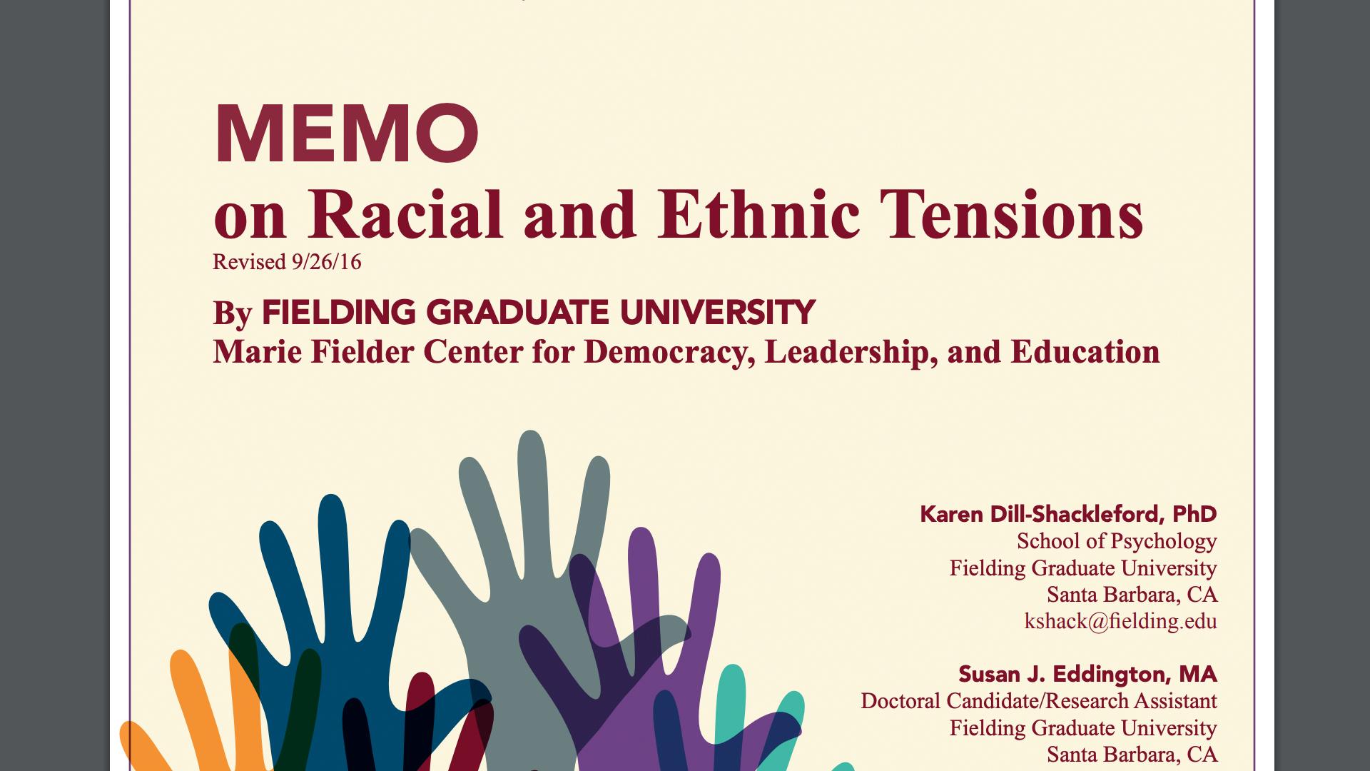 Memo on Racial Tension